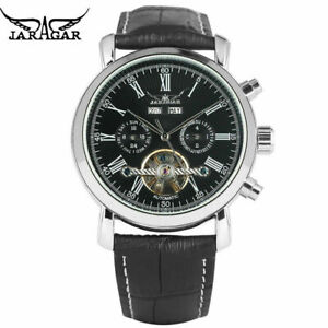 JARAGAR Roman Numerals Day Date Men Military Automatic Mechanical Wrist Watch