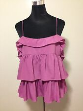 Barkins Ladies Top Frilled Purple Size 14