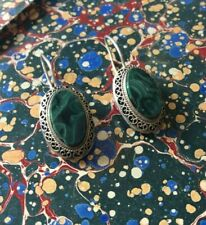 Earrings  Silver and Malachite Russian Vintage