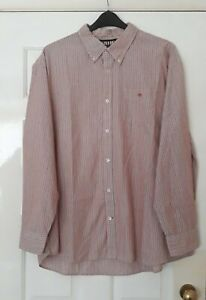 """Maine SIZE 3XL (Fits 52""""-54"""" Chest) Long Sleeve  Burgundy/White Striped Shirt"""