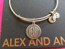 """RARE ALEX and ANI 2012 WORDS Are POWERFUL """" HEART """" CHARM SILVER Bangle BRACELET"""