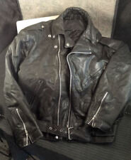 """Vintage """"American Armour"""" Leather Motorcycle Jacket XL + Snaps, Buttons, Pockets"""
