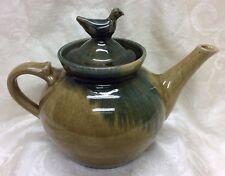 Jugtown, N. C. Art Pottery, Pamela Owens 1998 High Gloss Teapot Bird Finial