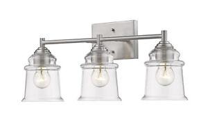 "3-Light Brushed Nickel Bathroom Light Fixture 22"" W Mid-Century Modern Clear New"