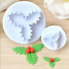 2pcs White Holly Leaf Cookie Biscuit Cutter Fondant Cake Topper Decor Tool Mold