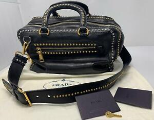 Authentic PRADA Glace Calf Studded Tote Nero Black Bag BL0691 ZIP Bowling LARGE