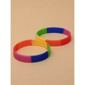 2pcs Rainbow Rubber Silicone Bracelet Wristband Multi Color Sports  UK