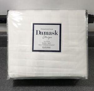 Charter Club Damask Stripe 550 Thread Count Supima Cotton 4 Pce. Queen Sheet Set