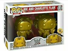 Funko Pop WWE Exclusve Gold Colored Ric & Charlotte Flair 2pk Wrestling Figures