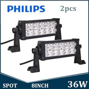 2X 8inch 36W Philips LED Light Bar Spot Beam Offroad Driving Lamp 12V 24V Truck