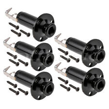 5Pcs Guitar Output Jack Strap Button Endpin Plug Socket Stereo Cylinder Black