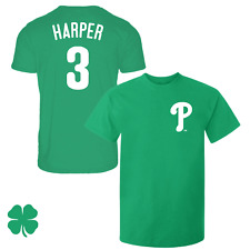 Bryce Harper T-Shirt Philadelphia Phillies Soft Jersey #3 Irish/St Patricks Day