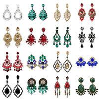 Women Crystal Rhinestone Dangle Drop Ear Stud Fashion Tassel Earrings Jewelry