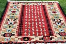 Southwest Native American Handwoven Vintage Geometric Fringed Wool Rug 72 x 108