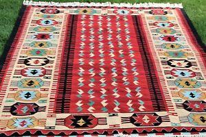 Southwest Native American Handwoven Vintage Geometric Fringed Wool Rug 72 x 108
