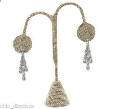 """MODERN BURLAP EARRING DISPLAY STAND EARRING TREE 4 3/4""""H EARRING STAND <QUALITY>"""