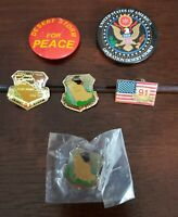 Desert Storm Lapel or Hat Pin and Pinback Button Lot of 6
