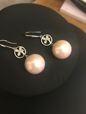 Light Pink Round Shell Pearl Drop Earring