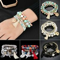 Multi-layer Crystal Tassel Rope Boho Chain Cuff Bracelets Set Bangle Party Gift