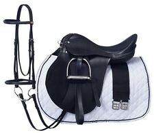 15 Inch All Purpose English Saddle Package - Black - All Leather
