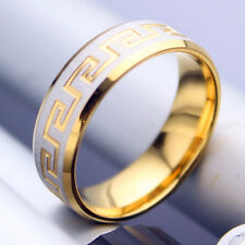 Men women his her titanium Steel engagement wedding gold plated ring size Q  040