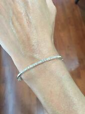 Simple 2mm THIN Diamond Bangle 0.50 ct Sterling Silver .925 Bracelet 10.1 grams
