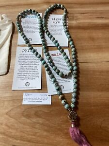 Silver & Sage Yoga Meditation Turquoise Pyrite Tiger Eye Mala