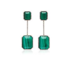 Gorgeous Emerald Shape Malachite With Clean White CZ Halo Drops Women's Earrings