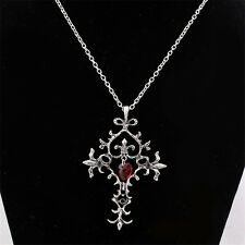 Vampire Diaries Memorial Red Sacred Heart Crystal cross necklace pendant PPf