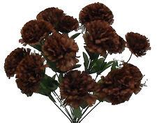 14 Dark Brown Carnations Long Stems ~ Silk Wedding Flowers Bouquets Centerpieces