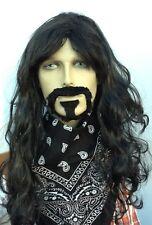 Long Wavy Black Fancy Dress Wig and Goatee Style Beard Set(King,Pirate,Hippy)
