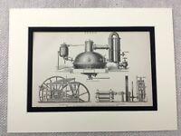 1880 Antico Stampa Zucchero Canna Mulino Fabbrica Macchinari Apparato Ingegneria