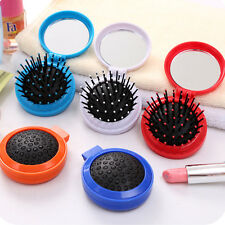 Pocket Size Travel Brush Fashion Massage Hair Folding Mirror Comb Air Bag