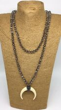 Fashion Long Knot Tribal Crystal w resin ox horn pendant Necklace Handmade