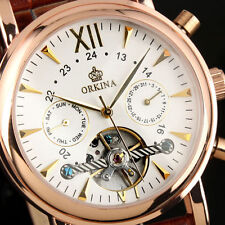 HOT COOL ORKINA skeleton dial calendar Automatic mechanical Leather Men's Watch