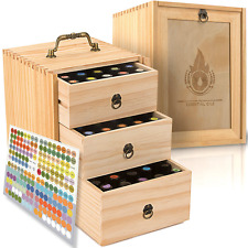 Essential Oil Box - Wooden Storage Case With Handle. Holds 75 Bottles & Roller B