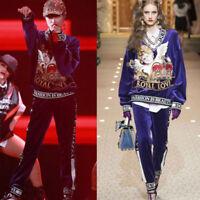 TWE01 Womens Designer Inspired Purple Velvet jumper top only