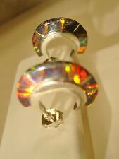 Black Red Golden Glow OPAL Small Hoop Earrings Sterling Silver 925 Thin sliced