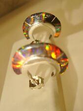 Black Red Golden Glow OPAL Small Hoop Earrings Sterling Silver 925 Thin sliced