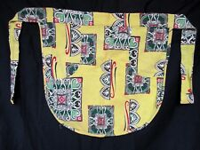 Vintage 1950s Lime Green Print Half Apron Hand Made Mid Century Modern print