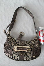GUESS Shoulder Bag Purse Black Grey Reptile Texture Accents