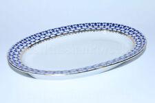 Russian Imperial Lomonosov Porcelain Oval Dish for Herring Cobalt Net 22k Gold