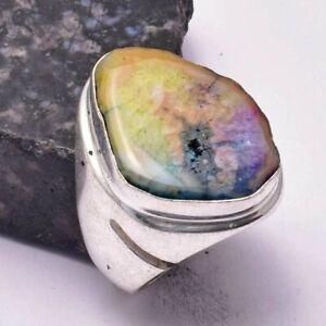 Rainbow Solar Quartz Ethnic Handmade Man's Ring Jewelry US Size-10 AR 34096