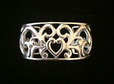 Sterling Silver Filigree Heart Cuff Bracelet