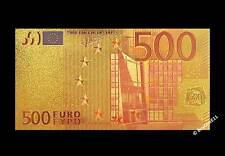 24k plaqué or colourised 500 € EURO BILLET-Cadeau-COA Bill Note Europe
