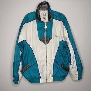 VTG Retro Wilson Mens Full Zip Color Block Teal Windbreaker Large Jacket L