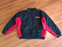 Snap On Racing Fleece Lined Pullover Mens 1/2 Zip Jacket Black Red