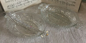 2 Antique Pressed Glass Divided Dishes