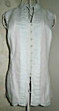 Women's summer pale blue linen sleeveless long top pintuck pleats size 10