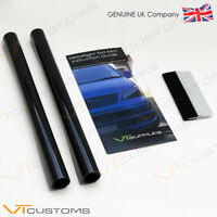 2 Lot 30 x 75cm Light Smoke Black Tint Film Headlights Tail light Car + SQUEEGEE